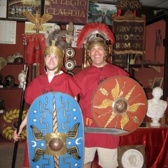 Decked out for a day at gladiator school in Rome